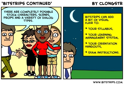 Bitstrips can add a bit of visual  flair to:  your syllabus,  your learning  management system,  your orientation  handouts,  even exam instructions.