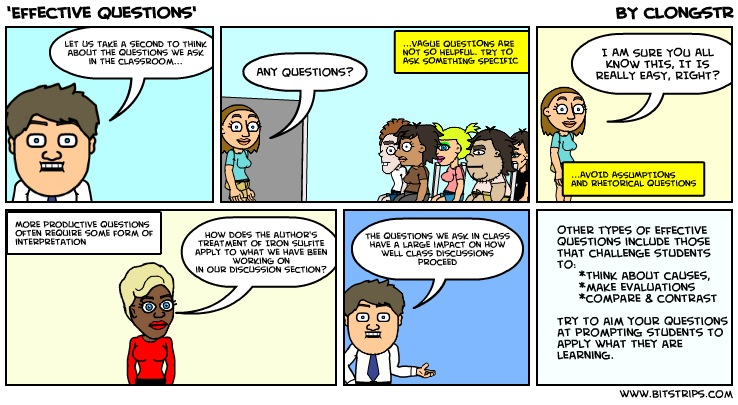 Example of a bitstrip giving advice on how to ask effective questions.
